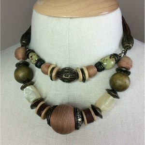 Chicos Double Strand Chunky Bauble Choker Necklace